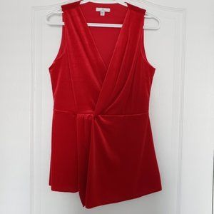 H by Halston Red Velvet Sleeveless Blouse